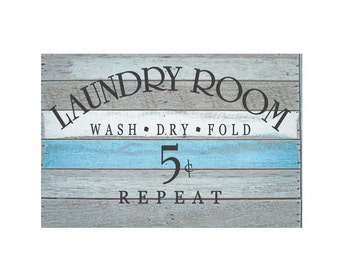 "Laundry Room Decor Laundry Room Decal Laundry Sign Vinyl Decal ""Wash Dry Fold Repeat"" Vinyl Lettering Laundry Stickers Laundry Wall Decal"