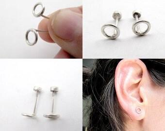 Silver circled studs, Silver Circle Stud Earrings, Simple Silver studs, Silver Screw Back Earrings, Silver circle Studs