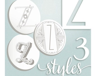 Modern Monograms Letter Z hand embroidery patterns in three styles Alphabet Letter embroidery designs by SeptemberHouse