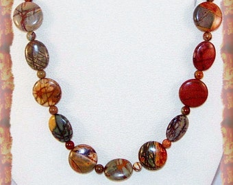 Red Creek Jasper Necklace and Earrings