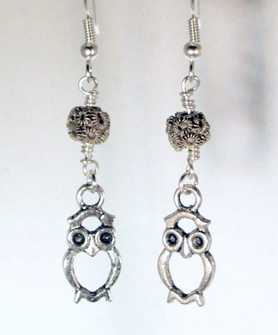 Pewter Owls and Pewter Flower Bead Earrings