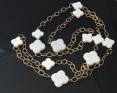 Reserved for LL: White Clover Agate in Gold Filled Chain Necklace