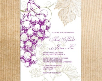 Vineyard Themed Wedding invitations -Vintage Grapes - Stationery by razzledazzledesign on Etsy