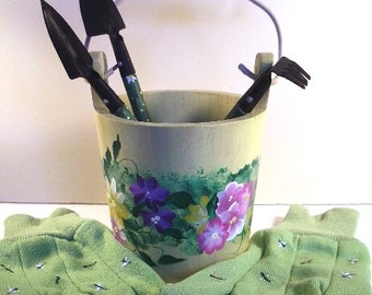Hand painted bucket with matching garden gloves and mini yard tools