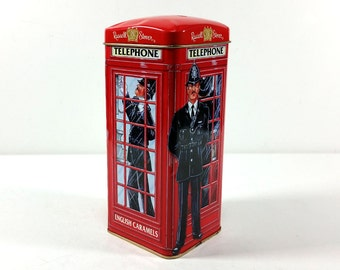 Vintage Tin Bank - London Red Phone Booth, Russell Stovers Tin