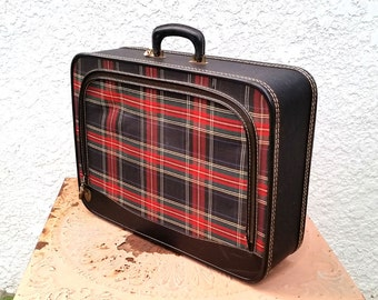 Vintage Tartan Plaid Suitcase with Silver-toned Hardware, Royal Blue Interior, Red Blue Plaid