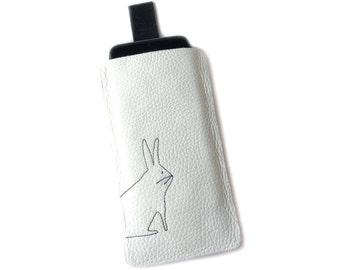 telephone mobile sleeve white leather rabbit case