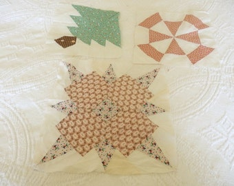 Vintage Quilt Blocks, Decorative Quilt Blocks, Vintage Hand Sewn Quilt Blocks
