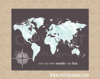World Map Wall Art, Gift for Husband, Office Wall Decor, Modern World Map, Gift Ideas for Him // Art Print or Canvas // 007 H-I13-1PS AA5