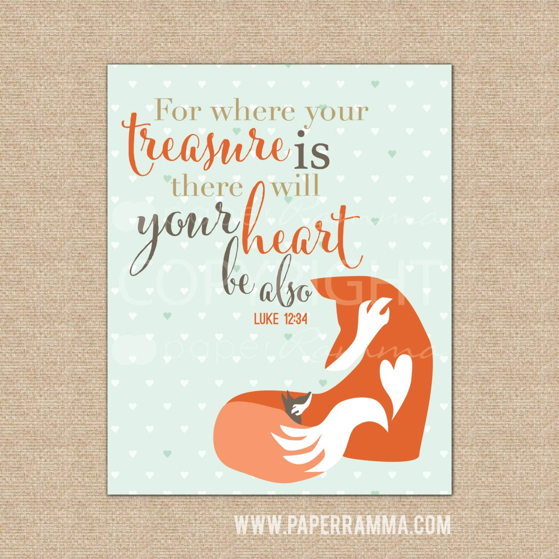 Bible Baby Quotes: Fox Nursery Decor Bible Verse Art Woodland Theme Room Baby