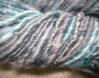 Handspun Hand Dyed Soft Curly Border Leicester Wool Bulky Art Yarn in Baby Blue and Silver Blue by KnoxFarmFiber for Knit Crochet Weave