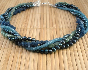 Blue Green Multistrand- Gemstone and Pearl MultiStrand- Blue Green Torsade- Aqua Apatite Gemstone- Deep Blue Green- Green Kyanite- Blu Pearl