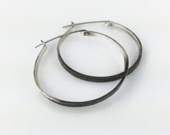 Large Silver Hoop Earrings Fairmined - Oxidized Duo Color by VK Designs in Portland, OR VK1391