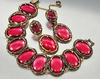 Trifari Bracelet, Renaissance Cranberry Red Gripoix Glass, Drop Trifari Earrings, Vintage 1960s Designer Jewelry, Bracelet Set