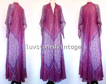 Vintage 70s Rare Adini Cotton Metallic Gauze Caftan Hippie Kaftan India Indian Festival Gypsy Maxi Dress . SML . 973.5.26.15