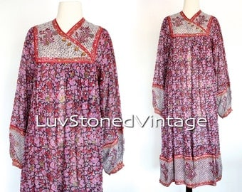 70s Vintage Zodiac India Tent Cotton Boho Hippie Indian Ethnic Festival Midi Maxi Dress | SM | small | medium | 1014.6.23.15