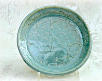 Ring Dish with Floral Lace Pattern in Robin's Egg Blue