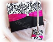 Madison damask guest book, hot pink and black damask weddings guest book and pen set