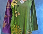 Floral paisley hand batik top in stretch cotton size L to XL purple and green top