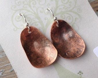 OOAK hand forged copper earrings