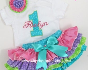 SET 4 Ruffle Classic Style Sassy Pants Ruffle Diaper Cover and Bodysuit or T shirt Applique Monogram