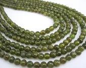 Natural Green Tourmaline Beads, Round, Smooth Round, Wholesale Beads, SKU 4586A
