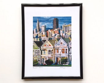 Painted Ladies San Francisco Painting framed, 8x10 black metal frame, from painting by Gwen Meyerson