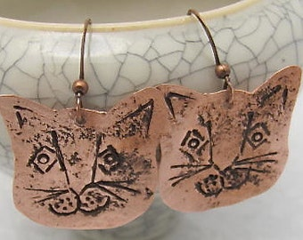 Copper Cat Earrings.Cat Lovers Special. Pure Copper Cat Earrings. Cat Dangle Earrings. 100% Copper Earrings.