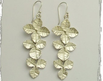 Leaf earrings, Shiny silver earrings, sterling silver earrings, botanical earrings, long earrings, dangle silver earrings - Impulse E2144
