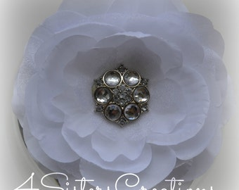 White Artificial Flower with Organza Custom Clear Acrylic Rhinestone Button