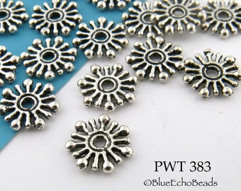 Pewter Beads 10mm Sunburst Rondelle Antiqued Silver (PWT 383) BlueEchoBeads 30 pcs