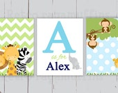 Jungle Chevron Nursery Art  Print Various Sizes  Personalized Boys Room Decor