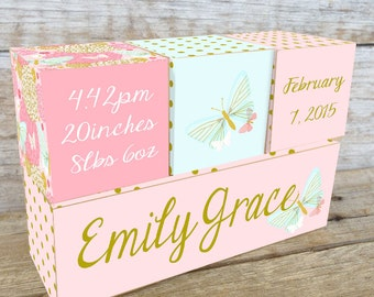 Personalized Wooden Name Birth Blocks Custom Made Butterfly Gold Multiple Colour Choices