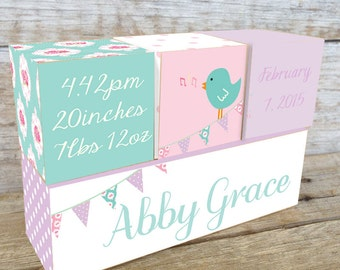Personalized Wooden Name Birth Blocks Custom Made Bunting Bird