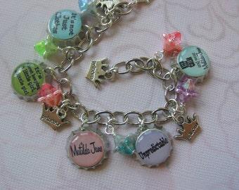 Personalized Matilda Jane Inspired mini bottle cap bracelet