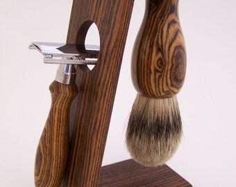 Bocote Wood 22mm Silvertip Badger Shaving Brush, DE Safety Razor Razor and Stand Shaving Set (Handmade in USA)  B22