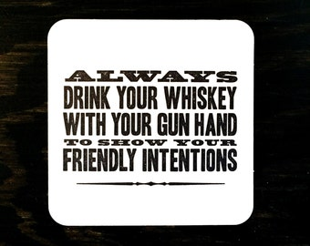Whiskey/Gun Hand letterpress coasters