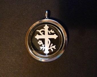 Cross Papercut in Glass Pendant Keepsake -Design 1319