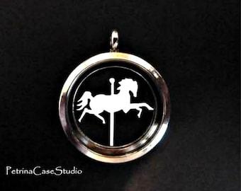 Carousel Horse Papercut in Glass Pendant Keepsake -Design 1317