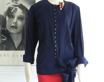 vintage 1940s blue crepe Rayon Blouse w/ hip Bow/ WWII swing long sleeve shirt top