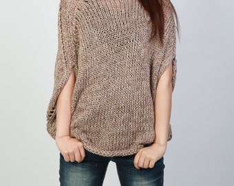 Hand knitted woman oversize drop shoulder sweater Eco Cotton mocha sweater