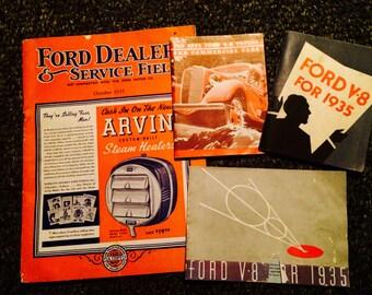 1935 ford V8 pamphlets and 1935 ford dealer book