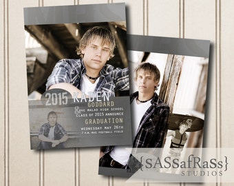 The Kaden--5x7 ADOBE PHOTOSHOP Graduation Announcement Template for Photographers, DIY, Grad Party, Open House, Double-Sided