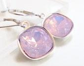 Pink Opal Crystal Earrings - Rose Water Opal Crystal
