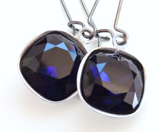 Ink blue crystal drop earrings on gunmetal - indigo blue