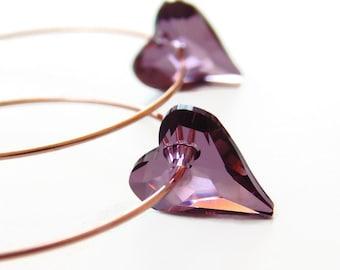 Purple Heart Hoop Earrings on Rose Gold - Wild Heart - Swarovski crystal - heart earrings - rose gold jewelry