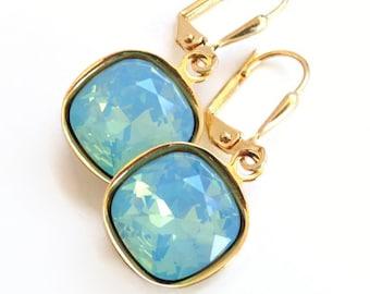 mint opal large square crystal earrings - sea foam green - mint jewelry - mint earrings - swarovski crystal - pacific opal