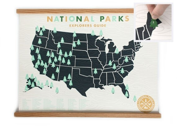National Parks Map 18x24  - Official Explorers Guide Screen Print - Gold ink limited edition