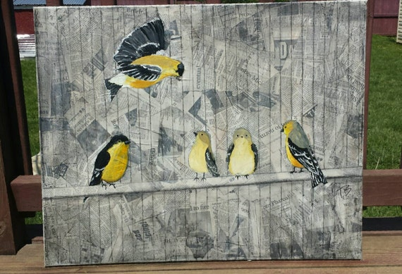 Goldfinch Gathering -original mixed media piece on stretched canvas  24x30