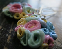 Long Dangle Earrings..POSEY. Flower bouquet in pastel colours in handmade polymer clay designed by Artist Anita Berglund